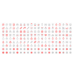 merry christmas pixel perfect big set 180 icons vector image