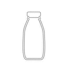 Milk bottle sign black dotted icon on vector