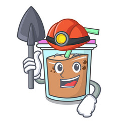 Miner bubble tea mascot cartoon vector