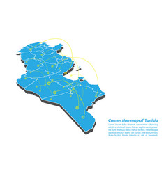 Modern of tunisia map connections network design vector
