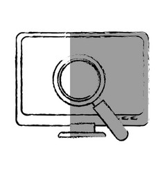 Monochrome blurred contour with lcd monitor and vector