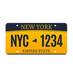new york licence plate american metal vehicle vector image