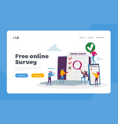 Online survey landing page template tiny vector