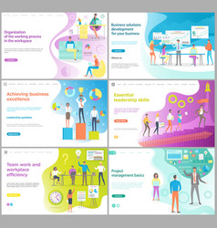 Organization of working process website page set vector