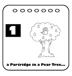 Patridge in a pear tree cartoon vector