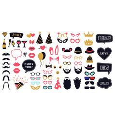 Photobooth party props funny face masks glasses vector