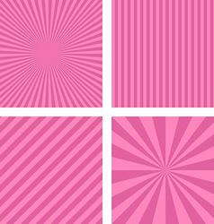 Pink striped pattern background set vector