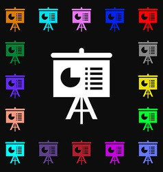 presentation board icon sign Lots of colorful vector image