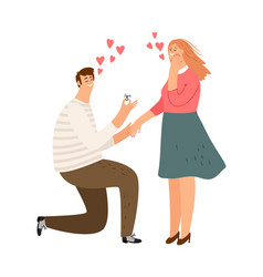 proposal man and woman characters vector image