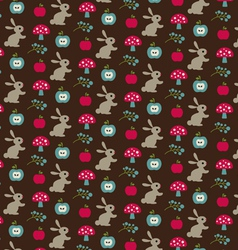 Rabbits mushrooms and apple pattern vector
