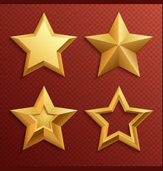 realistic metal golden stars isolated for rating vector image