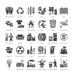 Recycling flat glyph icons pollution recycle vector