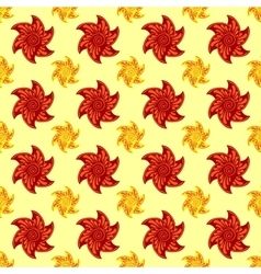 Red and orange autumn flowers seamless pattern vector image