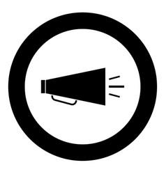 retro loudspeaker icon black color in circle vector image