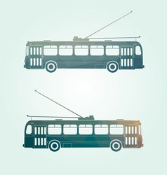 Retro public transport trolley bus vector
