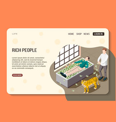 Rich people isometric web page vector