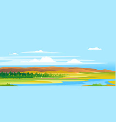 river valley forest landscape background vector image