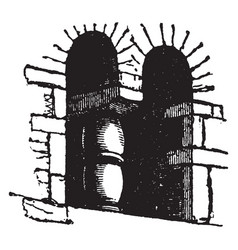 saxon architecture window extremely simple vector image