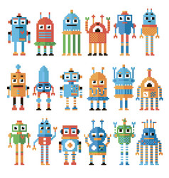 Set of pixel robots vector