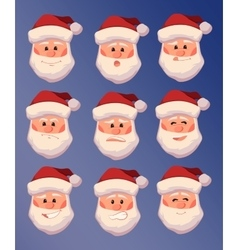 set of Santa Claus with different facial vector image