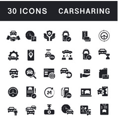 set simple icons carsharing vector image