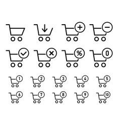 shopping cart sign set for website shopping vector image