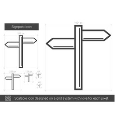 Signpost line icon vector