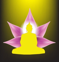 Silhouette of Buddha sitting with lotus petals vector