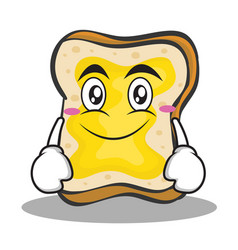 smile face bread character cartoon vector image