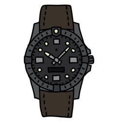 The sports waterproof wristwatch vector