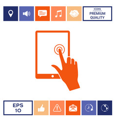 touch screen tablet with click hand vector image