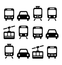 transport travel icon set isolated vector image