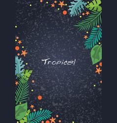 tropical garden leaves on dark background frame vector image