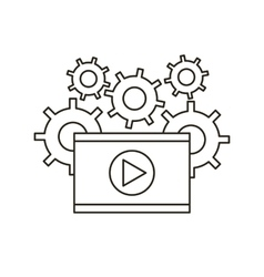 video player and gears vector image
