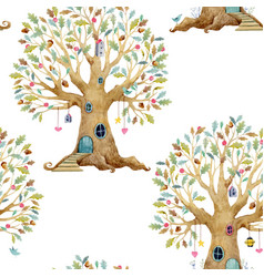 Watercolor tree house pattern vector