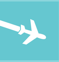white airplane icon on blue background in flat vector image