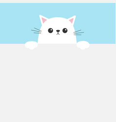White funny cat head face hanging on paper board vector