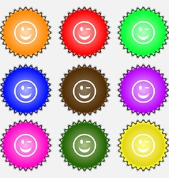 Winking Face icon sign A set of nine different vector