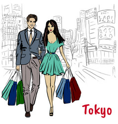 woman and man in tokyo vector image