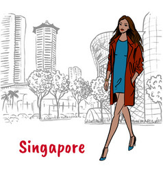Woman with shopping bags on orchard road vector