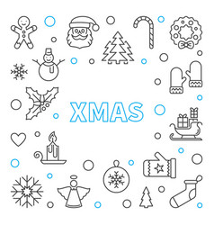 xmas outline frame merry christmas vector image