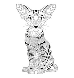 zentangle stylized cat hand drawn lace vector image