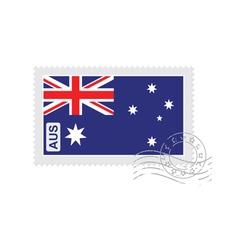 australia flag old postage stamp vector image
