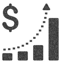 Business bar chart positive trend grainy texture vector