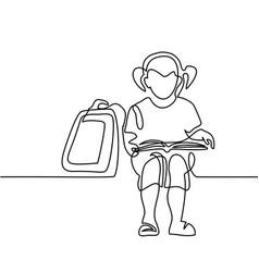 Girl reading book back to school concept vector