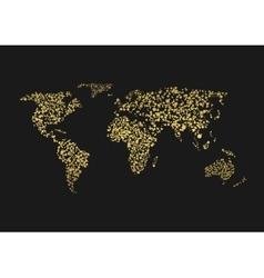 Golden world map vector image vector image