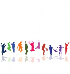 kids playing and jumping vector image