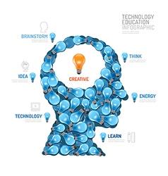 nfographic lightbulb man head shape technology vector image vector image
