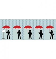 queue in rain vector image vector image