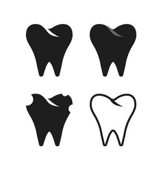 set of simple black tooth vector image